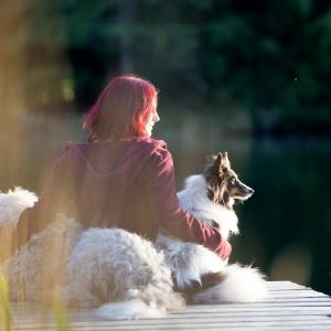 Tier und Menschfotoshooting rund um Basel: Anouchka mit ihren Hunden auf einem Steg in Lörrach