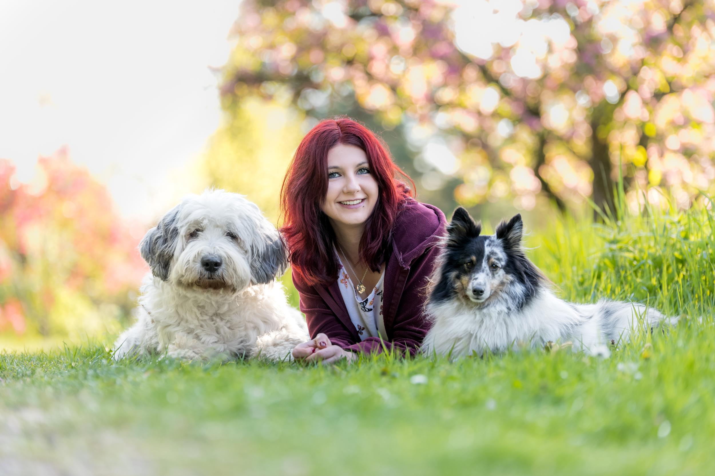 Anouchka mit Sheltie Lerry und Bobtail Abi