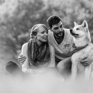 Schwarz-Weiss Portrait einer Familie