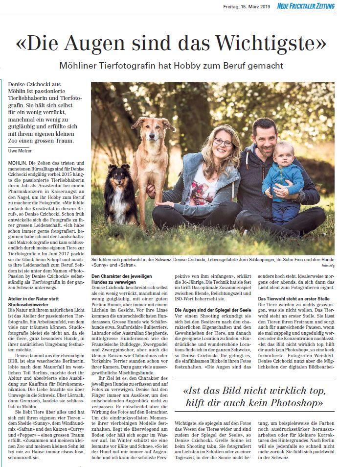 Artikel ueber Photo-Passion in der Neuen Fricktaler Zeitung Hundefotografie Schweiz